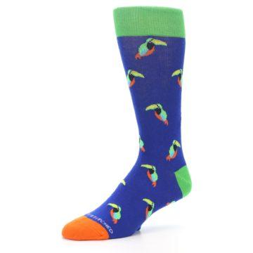 Image of Blue Green Toucan Bird Men's Dress Socks (side-2-09)
