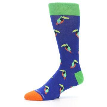 Image of Blue Green Toucan Bird Men's Dress Socks (side-2-10)