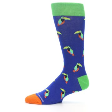 Image of Blue Green Toucan Bird Men's Dress Socks (side-2-11)