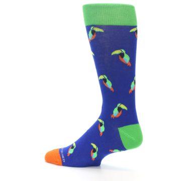 Image of Blue Green Toucan Bird Men's Dress Socks (side-2-13)