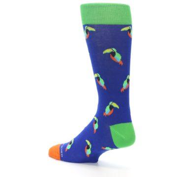 Image of Blue Green Toucan Bird Men's Dress Socks (side-2-back-14)