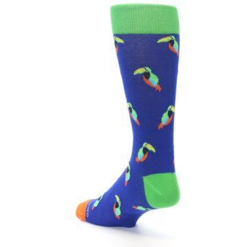 Image of Blue Green Toucan Bird Men's Dress Socks (side-2-back-15)