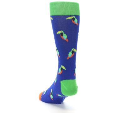 Image of Blue Green Toucan Bird Men's Dress Socks (side-2-back-16)