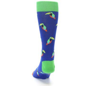 Image of Blue Green Toucan Bird Men's Dress Socks (back-17)