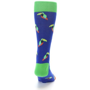 Image of Blue Green Toucan Bird Men's Dress Socks (back-19)