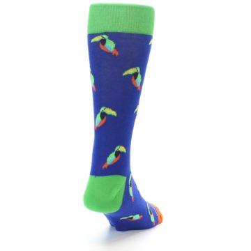 Image of Blue Green Toucan Bird Men's Dress Socks (side-1-back-20)