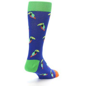 Image of Blue Green Toucan Bird Men's Dress Socks (side-1-back-21)