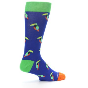 Image of Blue Green Toucan Bird Men's Dress Socks (side-1-23)