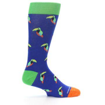 Image of Blue Green Toucan Bird Men's Dress Socks (side-1-24)