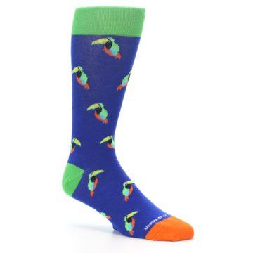 Image of Blue Green Toucan Bird Men's Dress Socks (side-1-26)