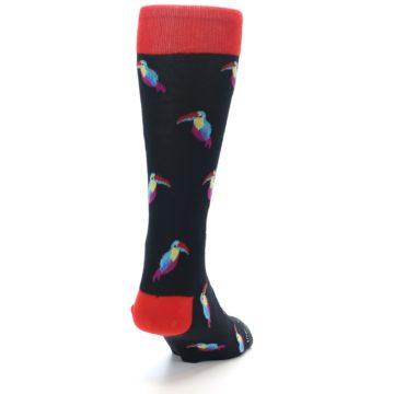 Image of Black Multi Color Toucan Men's Dress Socks (side-1-back-20)