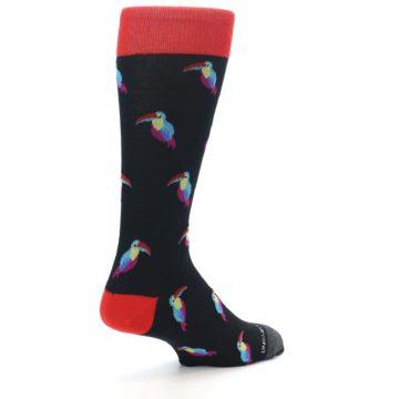 Image of Black Multi Color Toucan Men's Dress Socks (side-1-back-22)