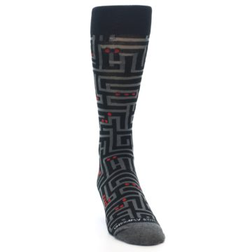 Image of Black Grey Red Maze Men's Dress Socks (side-1-front-03)