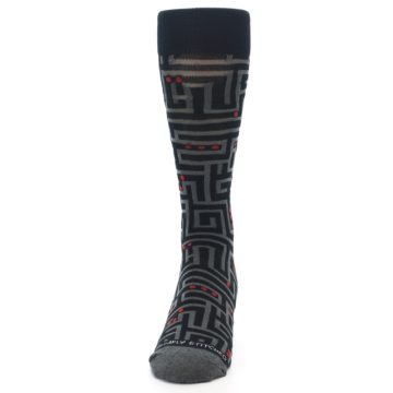 Image of Black Grey Red Maze Men's Dress Socks (front-05)