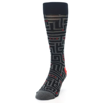 Image of Black Grey Red Maze Men's Dress Socks (side-2-front-06)