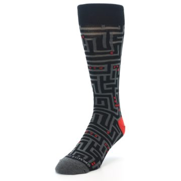 Image of Black Grey Red Maze Men's Dress Socks (side-2-front-07)