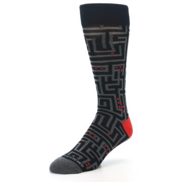 Image of Black Grey Red Maze Men's Dress Socks (side-2-front-08)