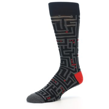 Image of Black Grey Red Maze Men's Dress Socks (side-2-09)