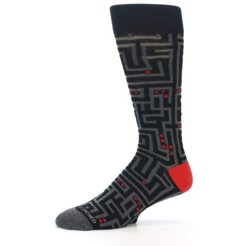 Image of Black Grey Red Maze Men's Dress Socks (side-2-10)