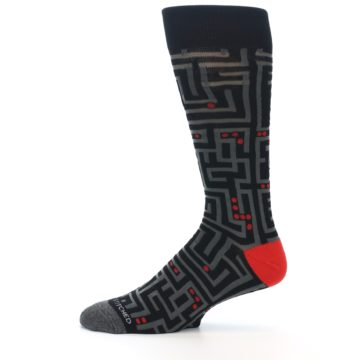 Image of Black Grey Red Maze Men's Dress Socks (side-2-11)