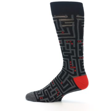 Image of Black Grey Red Maze Men's Dress Socks (side-2-12)