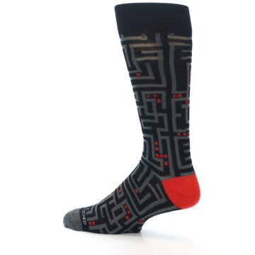Image of Black Grey Red Maze Men's Dress Socks (side-2-13)
