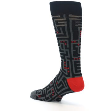 Image of Black Grey Red Maze Men's Dress Socks (side-2-back-14)