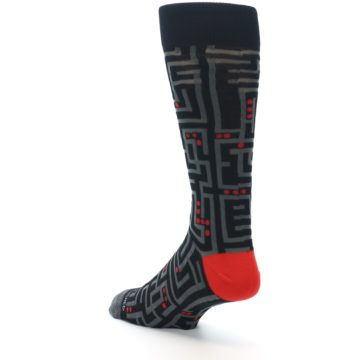 Image of Black Grey Red Maze Men's Dress Socks (side-2-back-15)