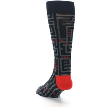 Image of Black Grey Red Maze Men's Dress Socks (side-2-back-16)