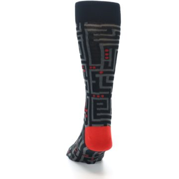 Image of Black Grey Red Maze Men's Dress Socks (back-17)