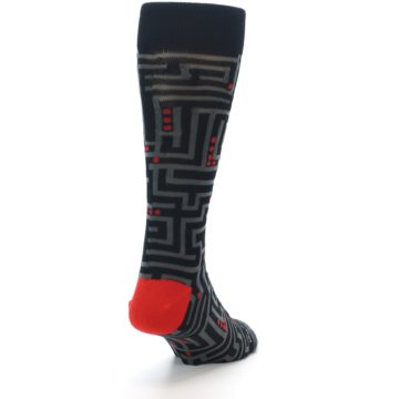 Image of Black Grey Red Maze Men's Dress Socks (side-1-back-20)