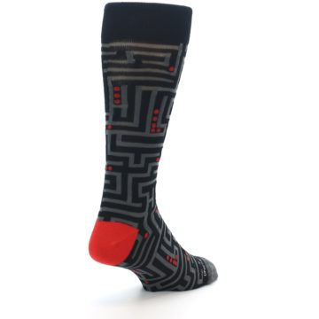 Image of Black Grey Red Maze Men's Dress Socks (side-1-back-21)