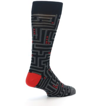 Image of Black Grey Red Maze Men's Dress Socks (side-1-back-22)