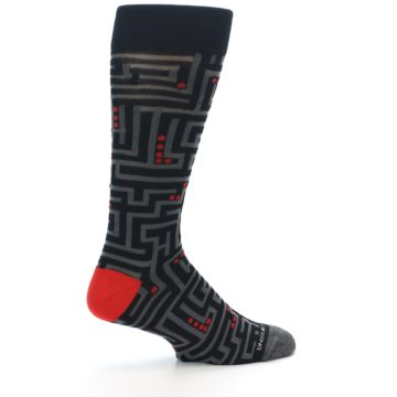 Image of Black Grey Red Maze Men's Dress Socks (side-1-23)
