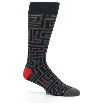 Image of Black Grey Red Maze Men's Dress Socks (side-1-25)