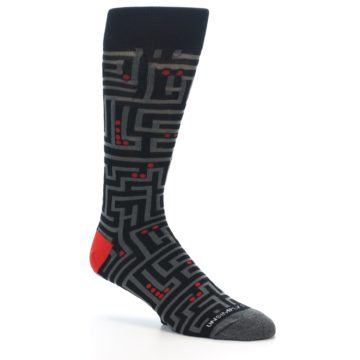 Image of Black Grey Red Maze Men's Dress Socks (side-1-26)