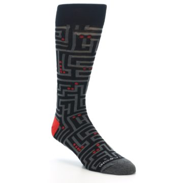 Image of Black Grey Red Maze Men's Dress Socks (side-1-27)