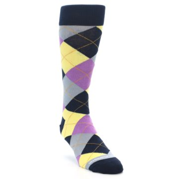 Image of Navy Purple Grey Yellow Argyle Men's Dress Socks (side-1-front-02)