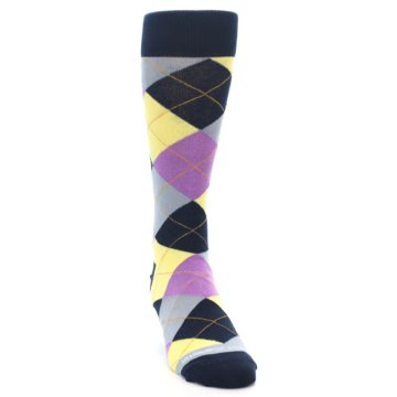 Image of Navy Purple Grey Yellow Argyle Men's Dress Socks (side-1-front-03)