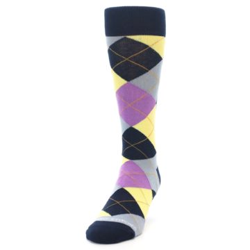 Image of Navy Purple Grey Yellow Argyle Men's Dress Socks (side-2-front-06)