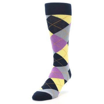 Image of Navy Purple Grey Yellow Argyle Men's Dress Socks (side-2-front-07)