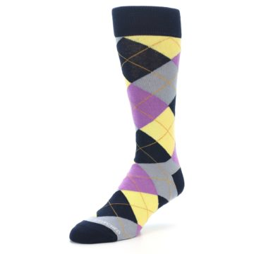 Image of Navy Purple Grey Yellow Argyle Men's Dress Socks (side-2-front-08)