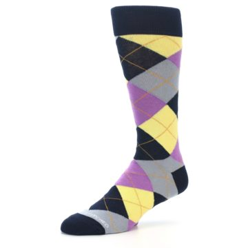 Image of Navy Purple Grey Yellow Argyle Men's Dress Socks (side-2-09)