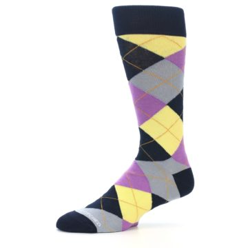 Image of Navy Purple Grey Yellow Argyle Men's Dress Socks (side-2-10)