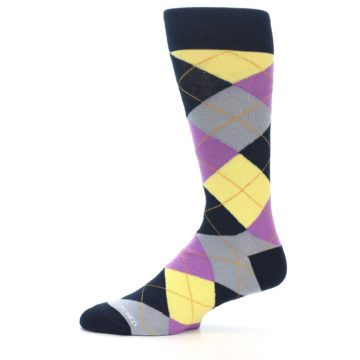 Image of Navy Purple Grey Yellow Argyle Men's Dress Socks (side-2-11)