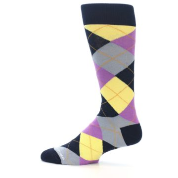 Image of Navy Purple Grey Yellow Argyle Men's Dress Socks (side-2-12)