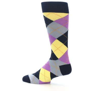 Image of Navy Purple Grey Yellow Argyle Men's Dress Socks (side-2-13)