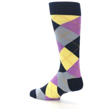 Image of Navy Purple Grey Yellow Argyle Men's Dress Socks (side-2-back-14)