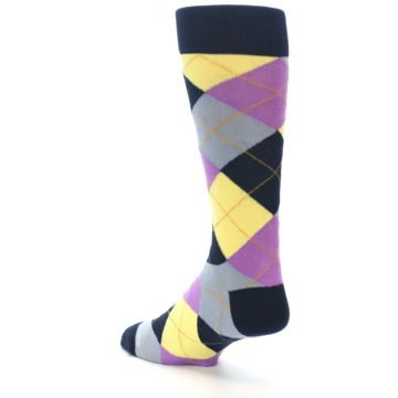 Image of Navy Purple Grey Yellow Argyle Men's Dress Socks (side-2-back-15)
