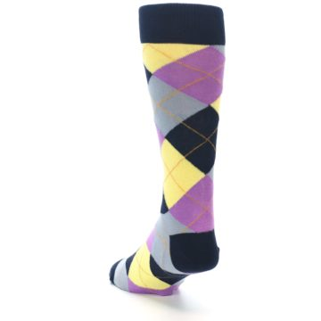 Image of Navy Purple Grey Yellow Argyle Men's Dress Socks (side-2-back-16)